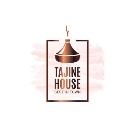 Tajine or tagine watercolor logo on white Logo