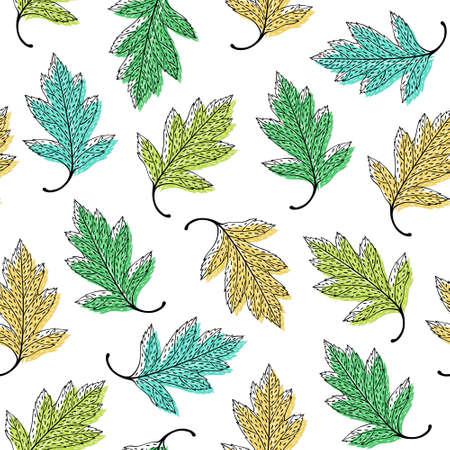 herbarium: Leaves seamless pattern