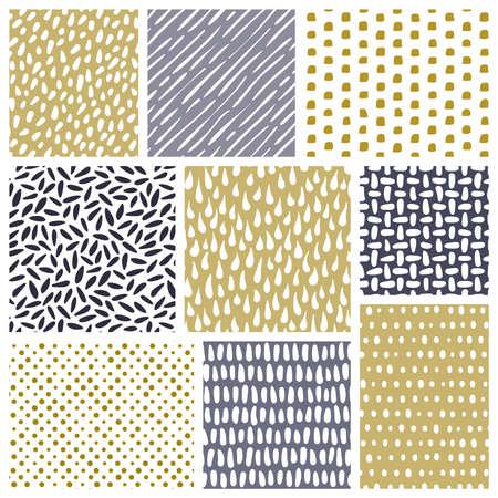 arroz blanco: Conjunto de texturas dibujadas a mano. Modelos inconsútiles del vector