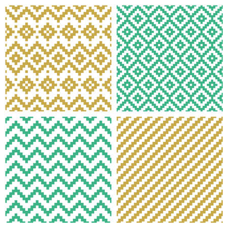 Set of pixel seamless patterns