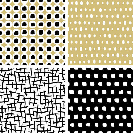 ink art: Set of abstract hand drawn textures. Vector seamless patterns