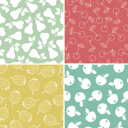 Pears, cherries, gooseberries and apples, set of seamless patterns