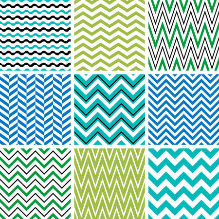 blue vintage background: Set of chevron seamless patterns
