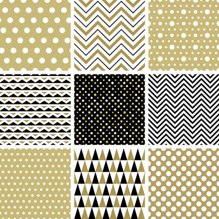 white backgrounds: Set of geometric seamless patterns