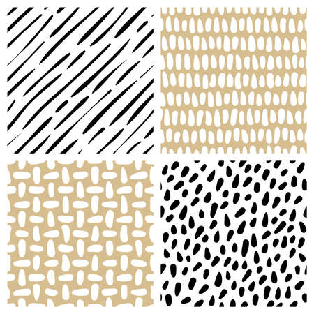 Set of abstract hand drawn textures. Vector seamless patterns