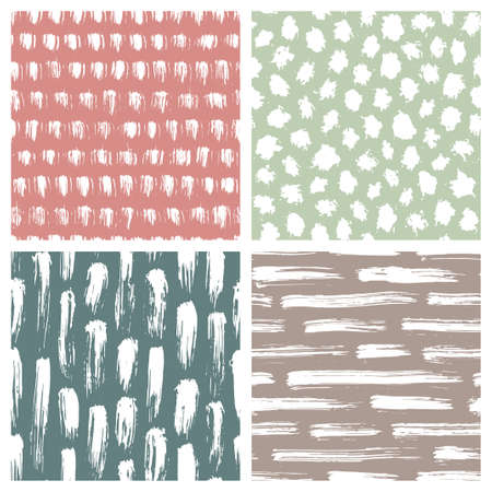 Set of abstract hand drawn seamless patterns, brush strokes textures Çizim