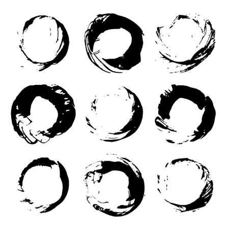 Vector set of black ink brush stokes Vettoriali