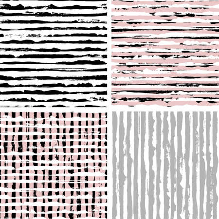 Abstract hand drawn brush strokes and paint splashes textures, set of seamless patterns