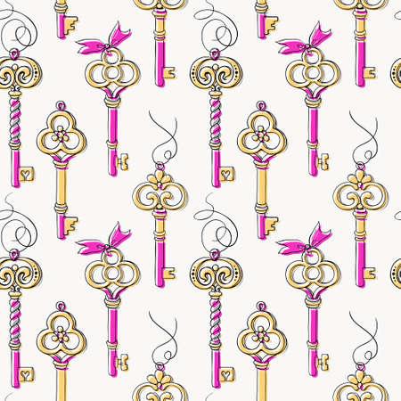 Hand drawn vintage keys seamless pattern 일러스트