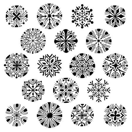 Vector set of hand drawn snowflakes