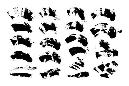 Set vettoriale di pennellate di inchiostro nero