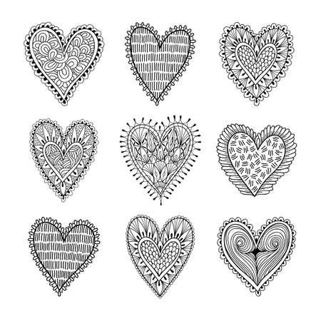 Vector set of Valentine Day hearts