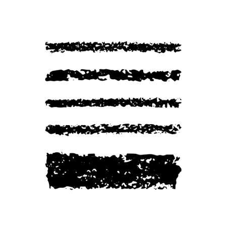 Vector set of black ink brush strokes