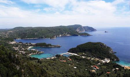 Point of view of the paleokastritsa bay in Corfu Greece