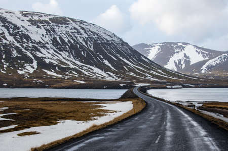 curve road: Road curve and landscape in Iceland