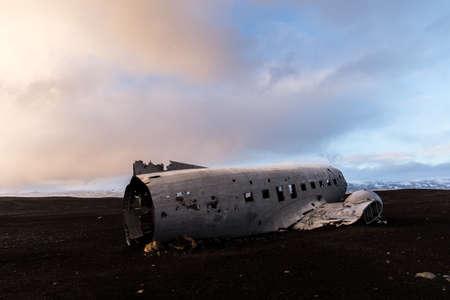 wreckage: Plane crash wreckage on black sand in Iceland