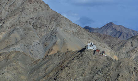 monastery nature: this is a photo of ancient monastry on the mountian in northern India