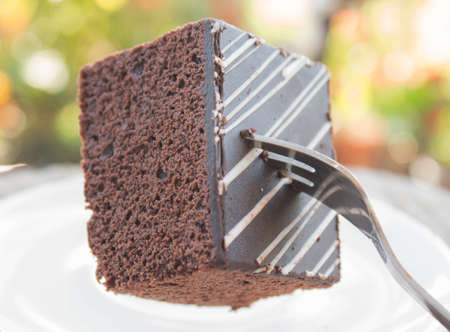 coffeetime: Chocolate Cake Slice on white dish