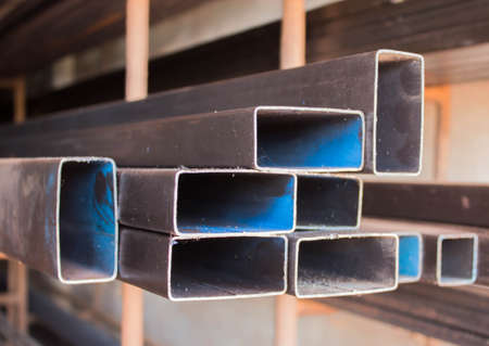 shelf: Steel pipe on the shelf. Stock Photo