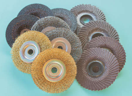 abrasive: Abrasive wheels on the floor.