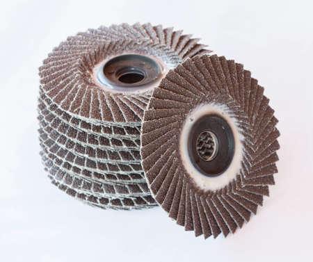 abrasive: abrasive wheels on white background. Stock Photo