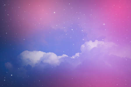 night sky with cloud and stars. Stock Photo