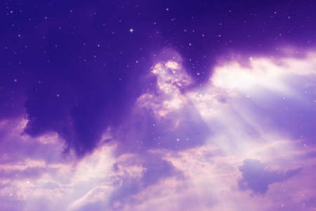 pleiades: night sky with cloud and stars. Stock Photo