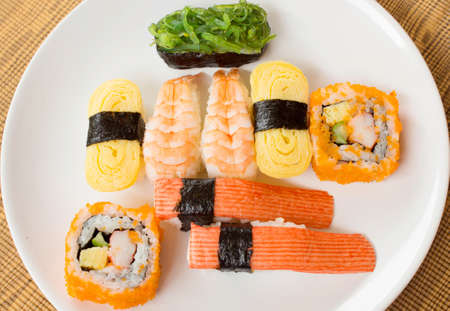 soysauce: Sushi on the white plate Stock Photo