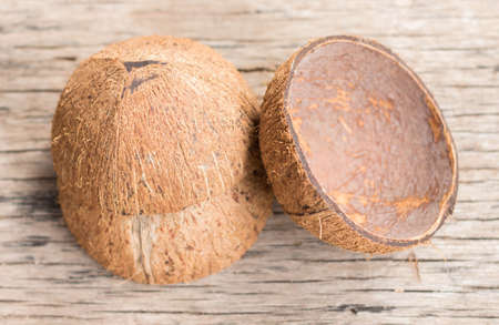 pectin: coconut coir  on the wooden floor. Stock Photo