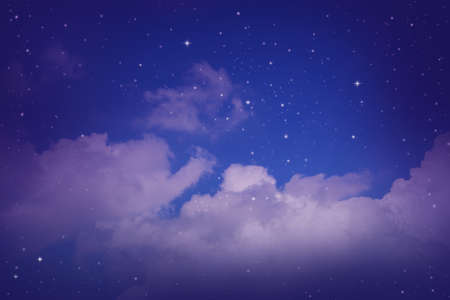the pleiades: night sky with cloud and stars. Stock Photo