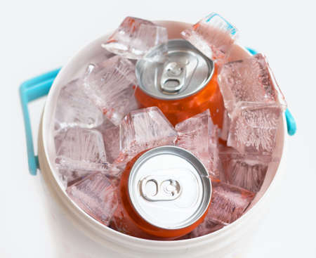crushed cans: cans of drink on crushed ice.