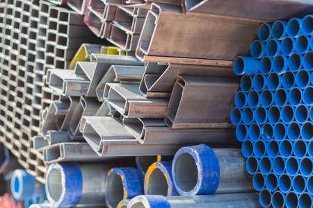 heavy joist: Truck steel used in construction. Stock Photo