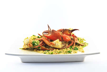 fried crab meat with eggs and curry powder   photo