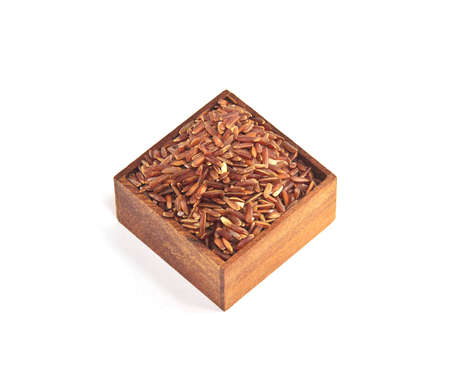 Red jasmine rice in square containers photo