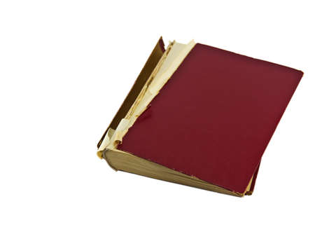 Old red diary with clipping path on white background photo