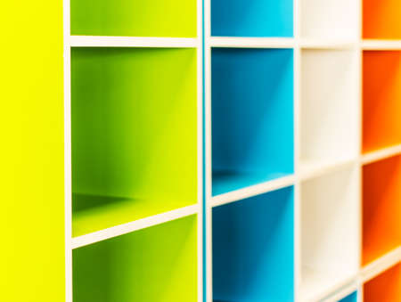 Colorful shelves of different colors , Colorful shelves is stacked photo
