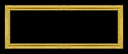 box design: The antique gold frame on the black  background Stock Photo