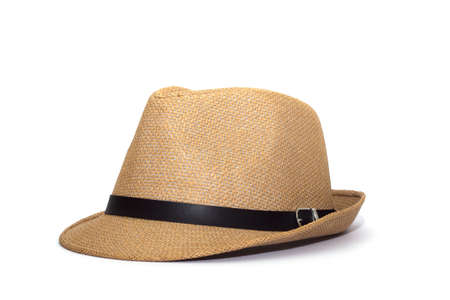 Pretty straw hat isolated on white background, Brown straw hat isolated on white background photo