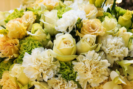 wedding bouquet with rose and carnation background photo