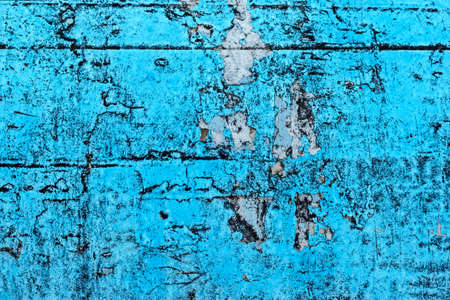 old peeling paint and dirty on old blue concrete wall background photo