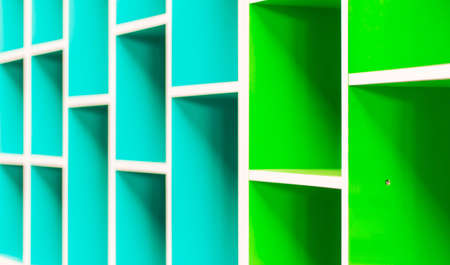 Colorful shelves of different colors photo