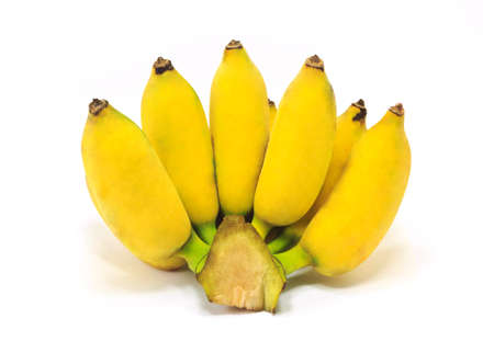 Bunch of small bananas isolated on white background Фото со стока