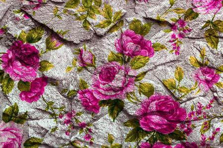 Closeup of retro rose fabric for grunge background photo