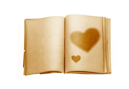 old diary: Old diary design in style with heart shape for vintage or grunge for background and happy Valentine