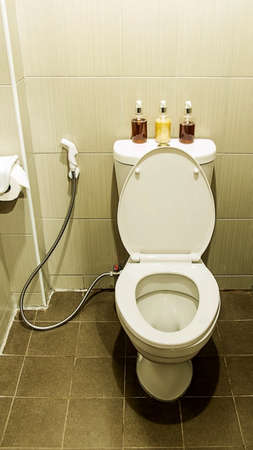 rinse spray hose: Water closet and amenities  set Stock Photo