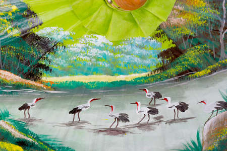 delineate: Pattern of painting  birds with river in the wild on umbrella handmade background in Chiang Mai, Thailand