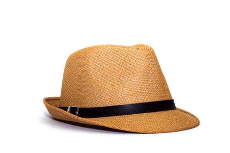 Mooie strooien hoed op een witte achtergrond, bruine strooien hoed op een witte achtergrond