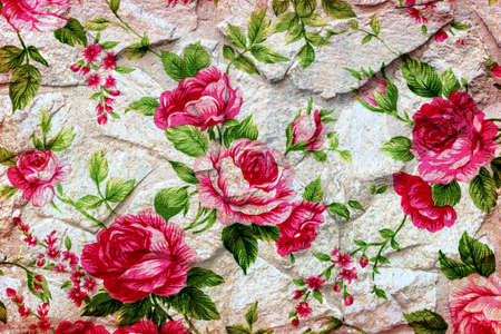 Retro of pink rose fabric for grunge background.