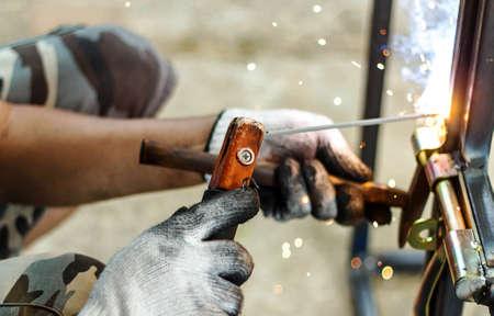 welding: Welders welding metal, Welding work.