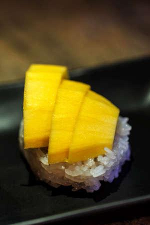 triglycerides: Sticky rice in coconut cream with ripe mango, Thai desserts